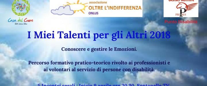 I miei Talenti per gli altri 2018. Formazione per volontari della disabilità.